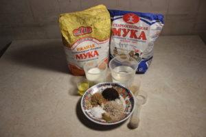 ингредиенты для пшенично-ржаного хлеба